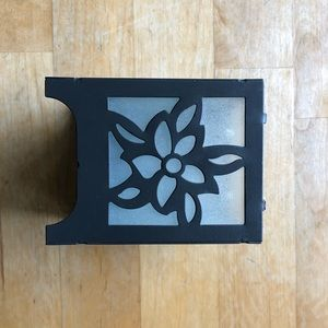 Accents - Gunmetal & Flower Frosted Glass Candle Holder